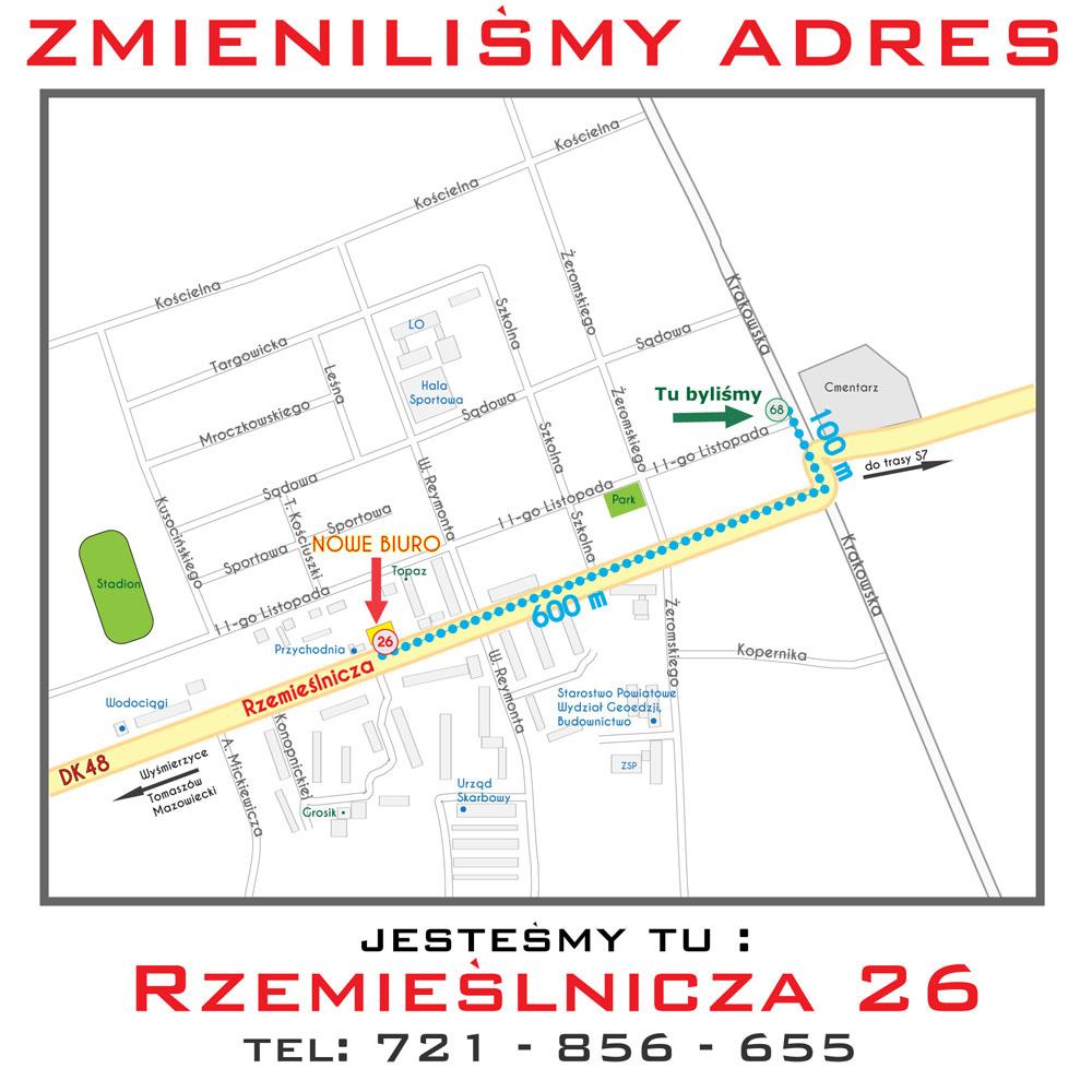 Zmieniliśmy adres – Biuro Geodezyjne – Geodeta Białobrzegi